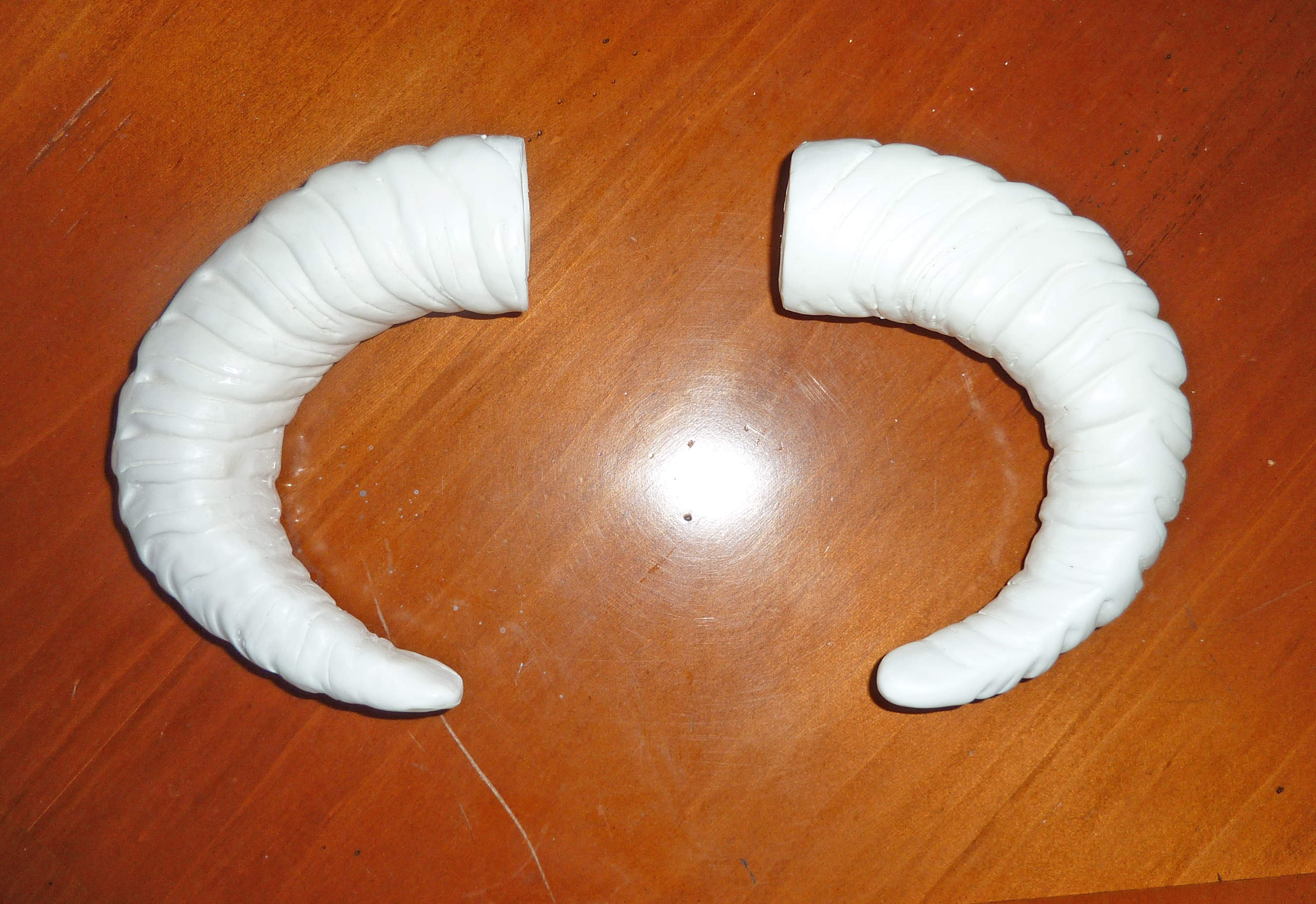 Cast Plastic Rams Horns for Dovahkiin Project