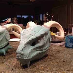 Male and Female Argonian Masks in the build an Argonian Workshop