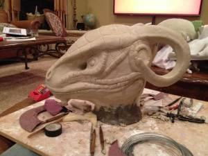 Female Argonian Mask Sculpt in clay